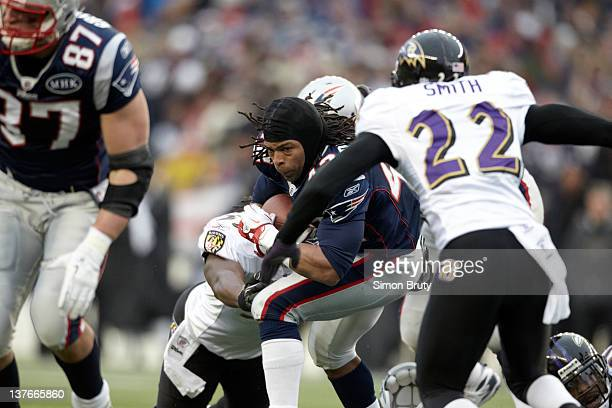 AFC Championship New England Patriots BenJarvus GreenEllis in action after losing his helmet vs Baltimore Ravens at Gillette Stadium Foxborough MA...