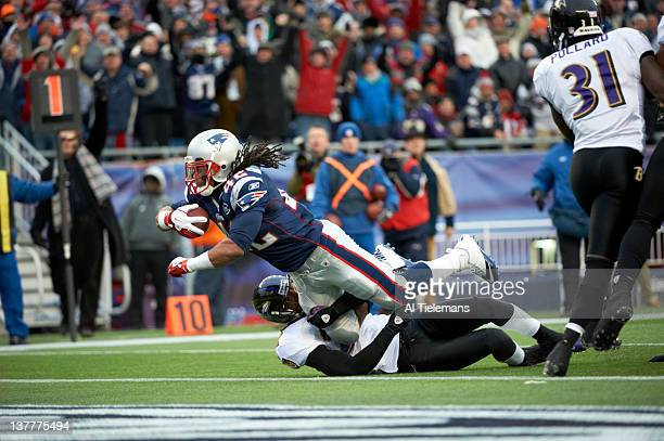 AFC Championship New England Patriots BenJarvus GreenEllis in action diving into endzone for touchdown during second quarter vs Baltimore Ravens at...