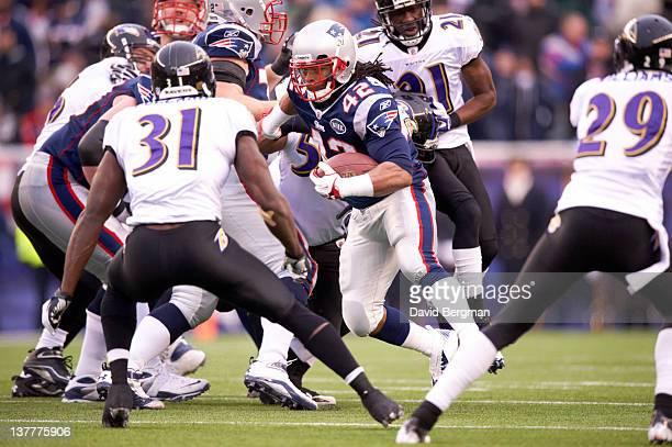 AFC Championship New England Patriots BenJarvus GreenEllis in action vs Baltimore Ravens Bernard Pollard at Gillette Stadium Foxborough MA CREDIT...