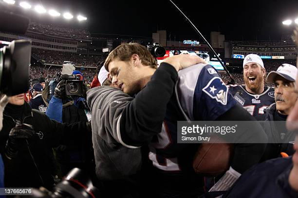 AFC Championship New England Patriots head coach Bill Belichick and QB Tom Brady victorious after game vs Baltimore Ravens at Gillette Stadium...