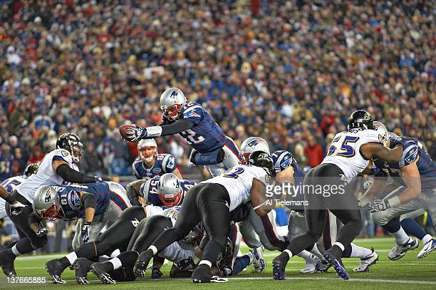 Championship: New England Patriots QB Tom Brady in action, diving over the top and scoring 1-yard, game-winning touchdown vs Baltimore Ravens during...