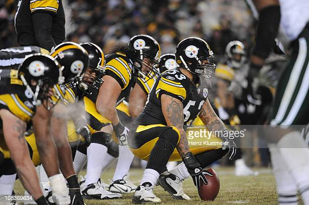 AFC Championship Pittsburgh Steelers Maurkice Pouncey on line of scrimmage before snap during game vs New York Jets at Heinz FieldPittsburgh PA...