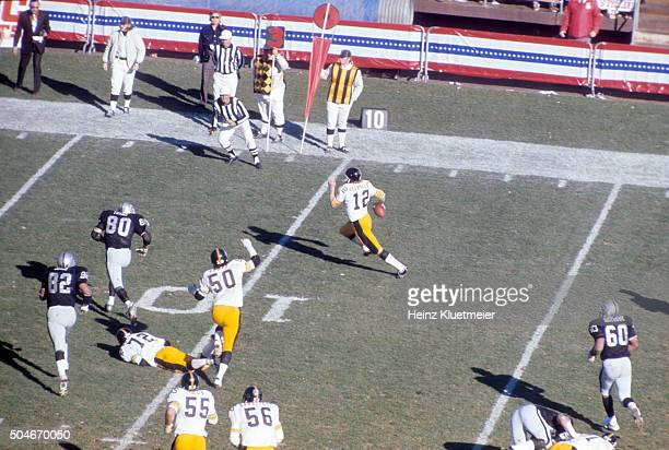 AFC Playoffs Aerial rear view of Pittsburgh Steelers QB Terry Bradshaw in action vs Oakland Raiders at OaklandAlameda County Coliseum Oakland CA...