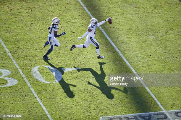 Playoffs: Aerial view of Los Angeles Chargers Adrian Phillips victorious during game vs Baltimore Ravens at MT Bank Stadium. Baltimore, MD 1/6/2019...