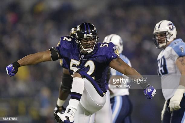 Football AFC Playoffs Baltimore Ravens Ray Lewis victorious after making tackle vs Tennessee Titans Baltimore MD 1/3/2004