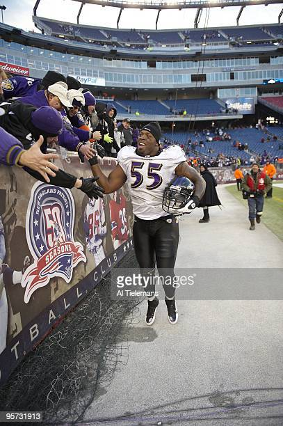 AFC Playoffs Baltimore Ravens Terrell Suggs victorious after game vs New England Patriots Foxboro MA 1/10/2010 CREDIT Al Tielemans