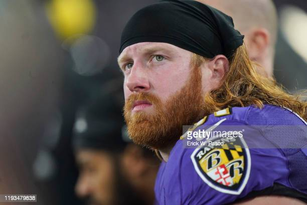 AFC Playoffs Closeup of Baltimore Ravens Hayden Hurst during game vs Tennessee Titans at MT Bank Stadium Baltimore MD CREDIT Erick W Rasco