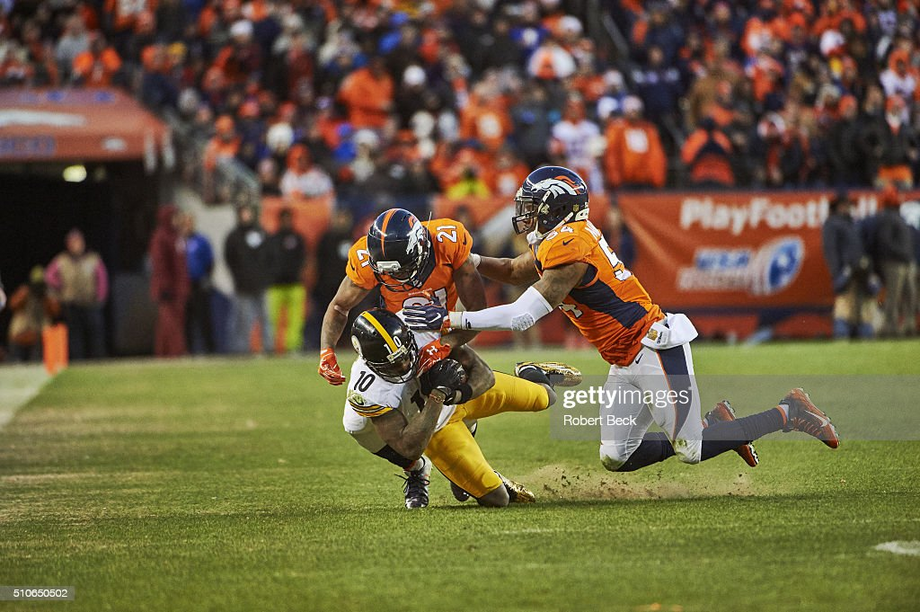 huge discount eb243 2d565 Denver Broncos Aqib Talib and Brandon Marshall in action ...