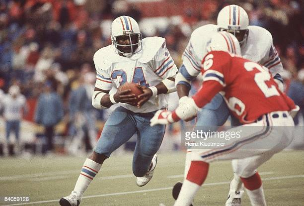 AFC Playoffs Houston Oilers Earl Campbell in action vs New England Patriots Foxborough MA CREDIT Heinz Kluetmeier
