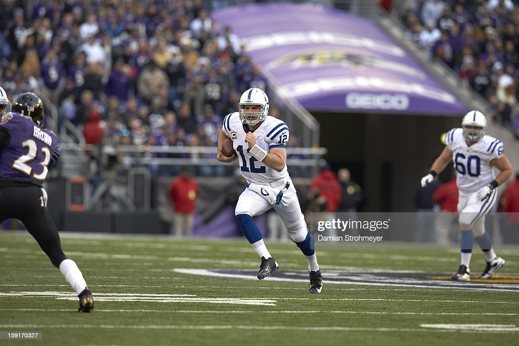 Indianapolis Colts QB Andrew Luck (12) in action vs Baltimore Ravens at M&T Bank Stadium. Damian Strohmeyer F209 )