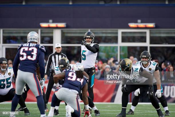 AFC Playoffs Jacksonville Jaguars QB Blake Bortles calling signals during game vs New England Patriots at Gillette Stadium Foxborough MA CREDIT Fred...