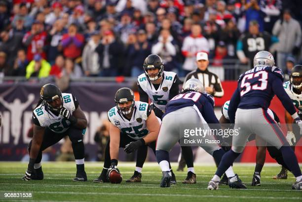 AFC Playoffs Jacksonville Jaguars QB Blake Bortles calling signals with Brandon Linder during game vs New England Patriots at Gillette Stadium...