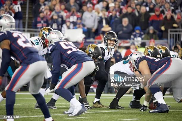 AFC Playoffs Jacksonville Jaguars QB Blake Bortles calling signals during game vs New England Patriots at Gillette Stadium Foxborough MA CREDIT Erick...
