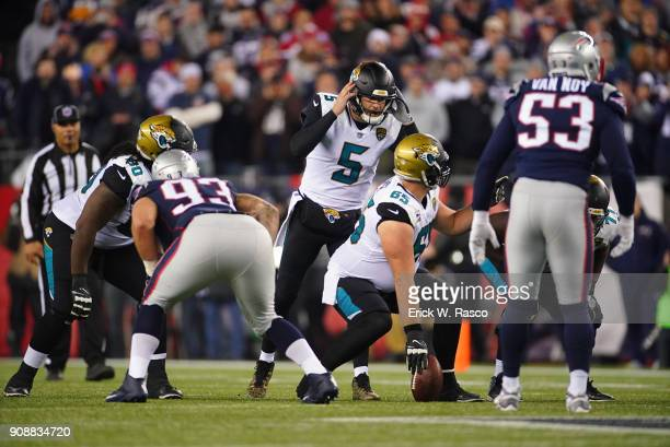 AFC Playoffs Jacksonville Jaguars QB Blake Bortles calling signals with Brandon Linder vs New England Patriots at Gillette Stadium Foxborough MA...