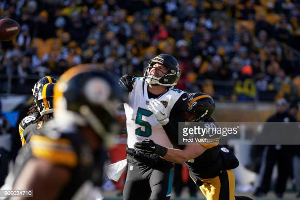 AFC Playoffs Jacksonville Jaguars QB Blake Bortles in action passing vs Pittsburgh Steelers TJ Watt at Heinz Field Sequence Pittsburgh PA CREDIT Fred...