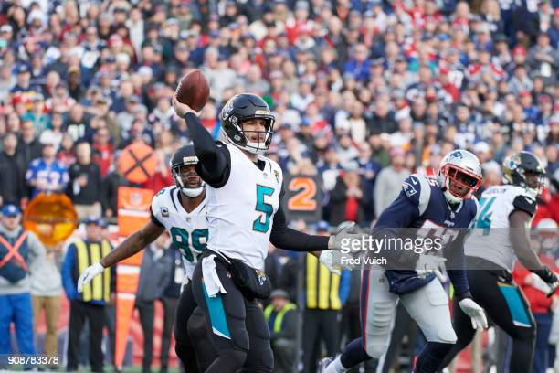 AFC Playoffs Jacksonville Jaguars QB Blake Bortles in action passing vs New England Patriots at Gillette Stadium Foxborough MA CREDIT Fred Vuich