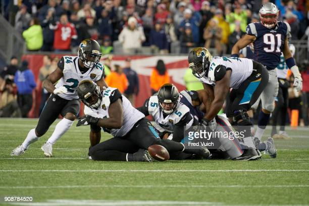 AFC Playoffs Jacksonville Jaguars QB Blake Bortles in action making fumble vs New England Patriots at Gillette Stadium Foxborough MA CREDIT Fred Vuich