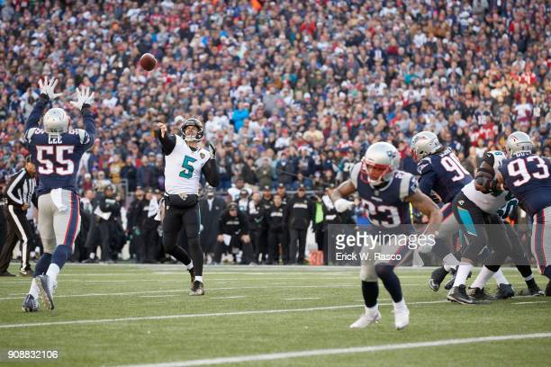 AFC Playoffs Jacksonville Jaguars QB Blake Bortles in action passing vs New England Patriots at Gillette Stadium Foxborough MA CREDIT Erick W Rasco