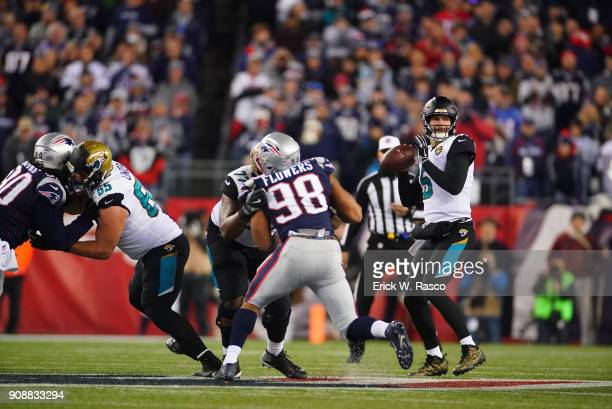 AFC Playoffs Jacksonville Jaguars QB Blake Bortles in action vs New England Patriots at Gillette Stadium Foxborough MA CREDIT Erick W Rasco
