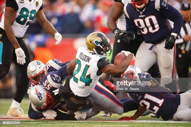 AFC Playoffs Jacksonville Jaguars TJ Yeldon in action rushing vs New England Patriots at Gillette Stadium Foxborough MA CREDIT Erick W Rasco