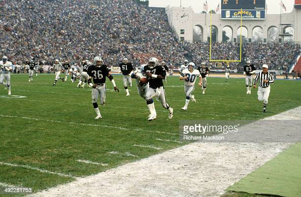 AFC Playoffs Los Angeles Raiders Lester Hayes in action returning interception vs Seattle Seahawks at Los Angeles Memorial Coliseum Los Angeles CA...