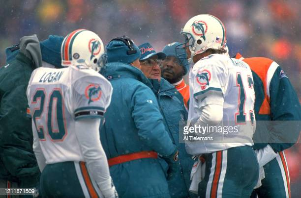 AFC Playoffs Miami Dolphins coach Don Shula with QB Dan Marino during game vs Buffalo Bills at Rich Stadium Weather snow Orchard Park NY CREDIT Al...
