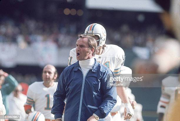 AFC Playoffs Miami Dolphins head coach Don Shula on sidelines during game vs Pittsburgh Steelers at Three Rivers Stadium Pittsburgh PA CREDIT Neil...