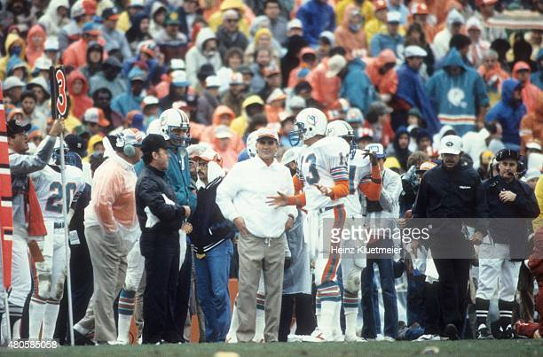 AFC Playoffs Miami Dolphins QB Dan Marino on sidelines with coach Don Shula during game vs Seattle Seahawks at Orange Bowl Stadium Miami FL CREDIT...