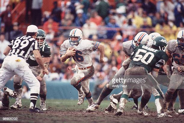 AFC Playoffs Miami Dolphins QB David Woodley in action vs New York Jets Mud Bowl Miami FL 1/23/1983 CREDIT Andy Hayt