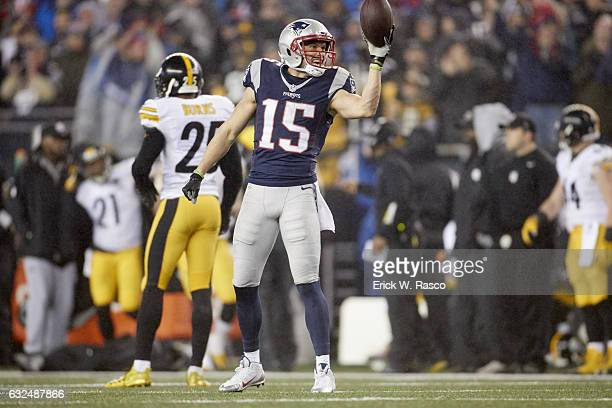 AFC Playoffs New England Patriots Chris Hogan victorious after scoring touchdown vs Pittsburgh Steelers at Gillette Stadium Foxborough MA CREDIT...