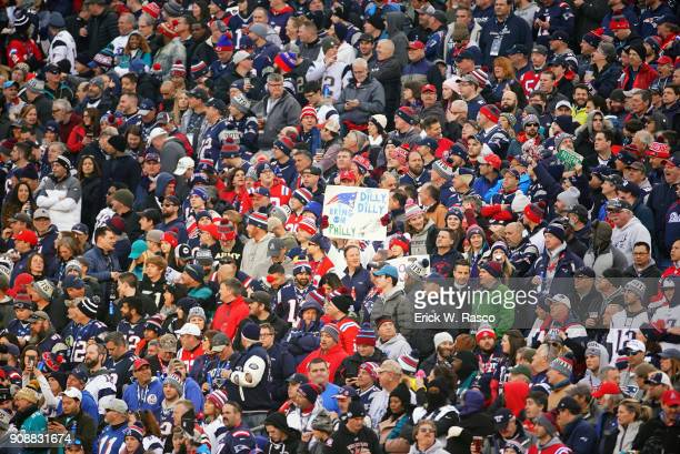 AFC Playoffs New England Patriots fans in stands during game vs Jacksonville Jaguars at Gillette Stadium Foxborough MA CREDIT Erick W Rasco