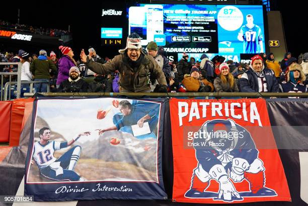 AFC Playoffs New England Patriots fans in stands with banners that read DIVINE INTERVENTION and PATRICIA during game vs Tennessee Titans at Gillette...