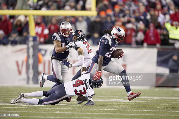 AFC Playoffs New England Patriots LeGarrette Blount in action rushing vs Houston Texans Corey Moore at Gillette Stadium Foxborough MA CREDIT Erick W...