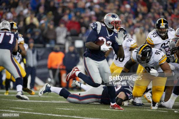 AFC Playoffs New England Patriots LeGarrette Blount in action rushing vs Pittsburgh Steelers at Gillette Stadium Foxborough MA CREDIT Al Tielemans