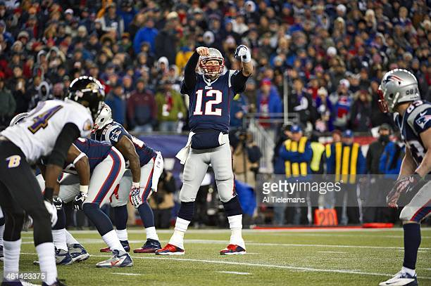 AFC Playoffs New England Patriots QB Tom Brady calling signals during game vs Baltimore Ravens at Gillette Stadium Foxborough MA CREDIT Al Tielemans