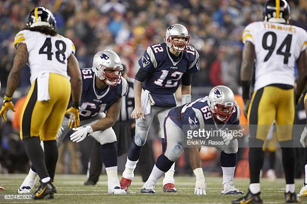 AFC Playoffs New England Patriots QB Tom Brady calling signals vs Pittsburgh Steelers at Gillette Stadium Foxborough MA CREDIT Erick W Rasco