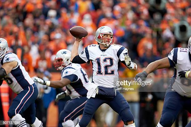 AFC Playoffs New England Patriots QB Tom Brady in action passing vs Denver Broncos at Sports Authority Field at Mile High Denver CO CREDIT Jeff Haynes
