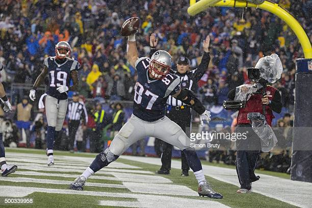 AFC Playoffs New England Patriots Rob Gronkowski victorous spiking football in endzone after scoring touchdow vs Indianapolis Colts at Gillette...
