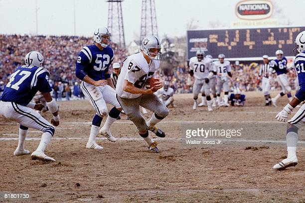 Football AFC Playoffs Oakland Raiders Dave Casper in action rushing vs Baltimore Colts Baltimore MD
