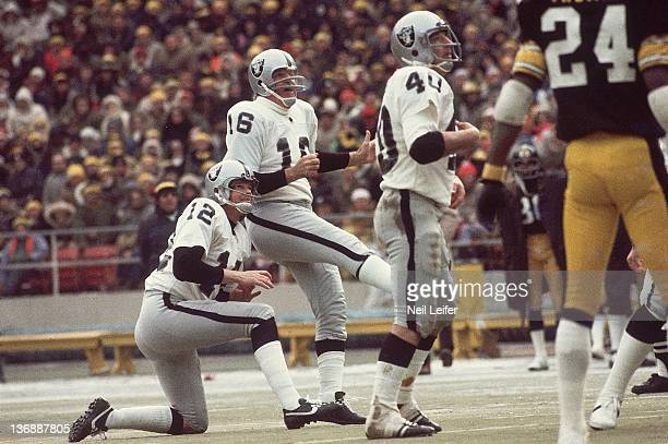 Football AFC Playoffs Oakland Raiders George Blanda in action field goal kick with holder QB Ken Stabler vs Pittsburgh Steelers at Three Rivers...