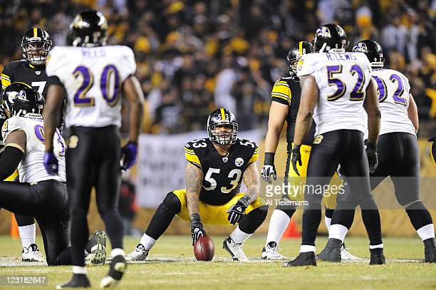 AFC Playoffs Pittsburgh Steelers center Maurkice Pouncey before snap during game vs Baltimore Ravens at Heinz Field Pittsburgh PA CREDIT Al Tielemans