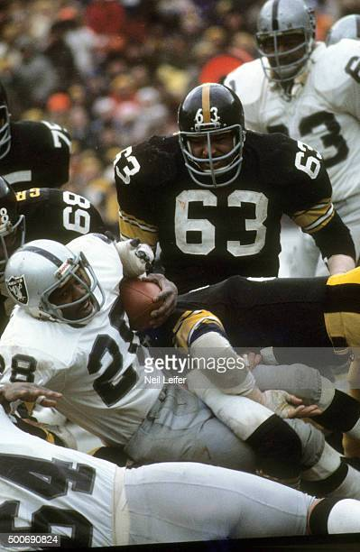 AFC Playoffs Pittsburgh Steelers Ernie Holmes in action vs Oakland Raiders at Three Rivers Stadium Pittsburgh PA CREDIT Neil Leifer