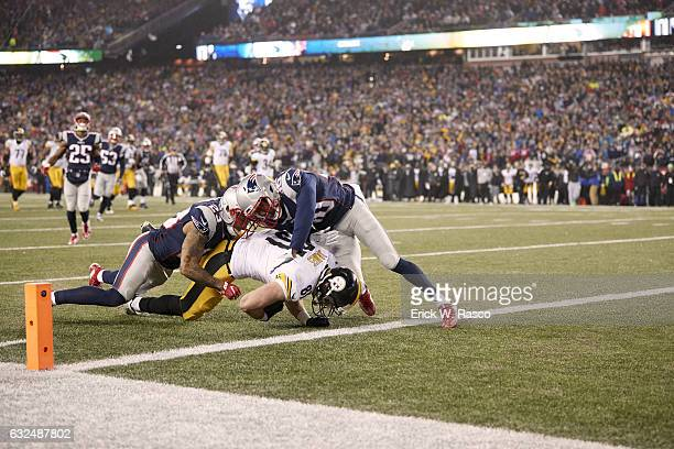 Playoffs: Pittsburgh Steelers Jesse James in action vs New England Patriots Patrick Chung at Gillette Stadium. Foxborough, MA 1/22/2017 CREDIT: Erick...