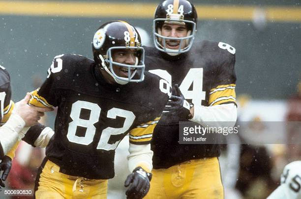 AFC Playoffs Pittsburgh Steelers John Stallworth victorious during game vs Oakland Raiders at Three River Stadium Pittsburgh PA CREDIT Neil Leifer