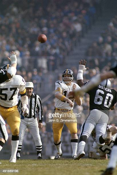 AFC Playoffs Pittsburgh Steelers QB Terry Bradshaw in action making pass vs Oakland Raiders at OaklandAlameda County Coliseum Oakland CA CREDIT John...
