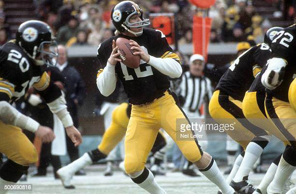 AFC Playoffs Pittsburgh Steelers QB Terry Bradshaw in action vs Oakland Raiders at Three Rivers Stadium Pittsburgh PA CREDIT Neil Leifer