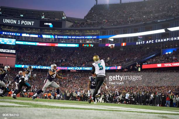 AFC Playoffs Rear view of Jacksonville Jaguars QB Blake Bortles in action passing vs New England Patriots at Gillette Stadium Foxborough MA CREDIT...