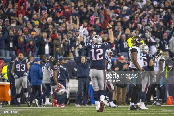 AFC Playoffs Rear view of New England Patriots QB Tom Brady victorious during game vs Jacksonville Jaguars at Gillette Stadium Foxborough MA CREDIT...