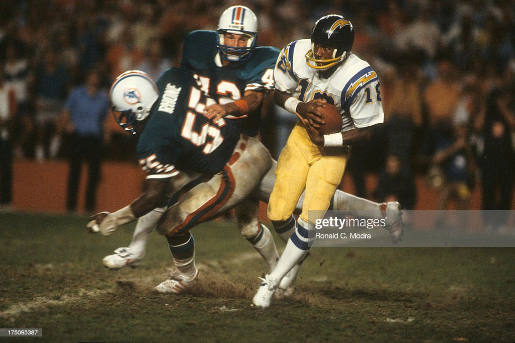 AFC Playoffs San Diego Chargers Charlie Joiner in action vs Mimai Dolphins at Orange Bowl Stadium Miami FL CREDIT Ronald C Modra