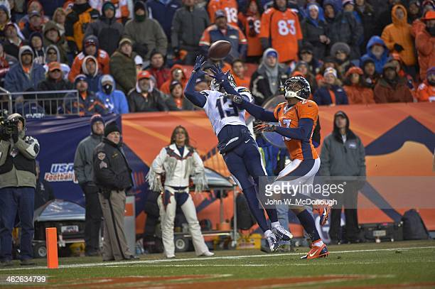 AFC Playoffs San Diego Chargers Keenan Allen in action vs Denver Broncos Champ Bailey at Sports Authority Field Denver CO CREDIT John W McDonough